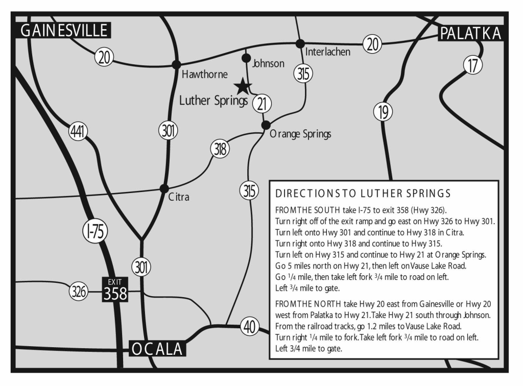 Luther Springs Directions